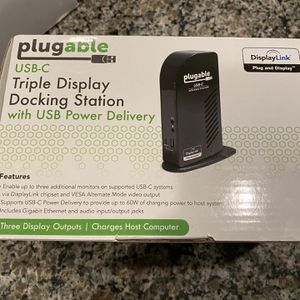 Plugable USB-C Triple Display Docking Station with Charging Support Power Delivery for Specific Windows USB Type-C and Thunderbolt 3 Systems (2X HDMI for Sale in Las Vegas, NV