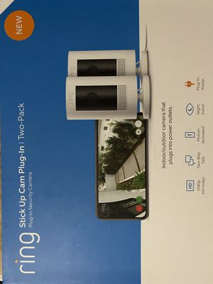 Ring stick up cam plug in 2 pack security camera for Sale in Montebello, CA
