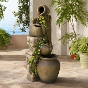 SHIPPING ONLY Cascading 4 Tier Rustic Pot Outdoor Fountain Waterfall Patio Porch Garden Decoration for Sale in Las Vegas, NV