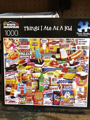 White Mountain Jigsaw Puzzle Things I Ate As A Kid - 1000 Pieces - Games -COMPLETE for Sale in Burbank, CA