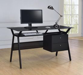 Metal And Glass Top Computer Desk With 2 Drawers - Black Color for Sale in Hacienda Heights,  CA