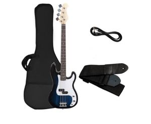 Electric Bass Guitar Full Size 4 String w/ Bag Strap Guitar Pick Amp Cord Blue for Sale in Moreno Valley, CA