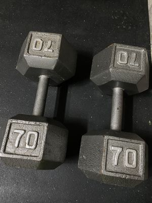 Pair of 70lb dumbells for Sale in Spring, TX