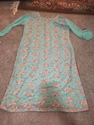 Light aqua eautiful designed dress almost 3 pieces. for Sale in Silver Spring, MD