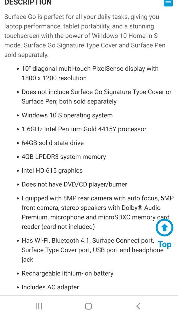 "Microsoft Surface Go. 10"" screen."