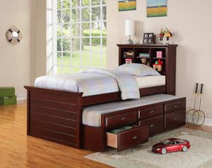 New Cherry Twin/Twin Trundle Bed with Storage for Sale in Austin, TX
