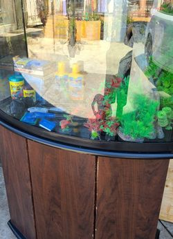 36 Gallon Bowfront Aquarium And Stand Ensembles for Sale in Long Beach,  CA