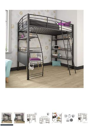 DHP Studio Loft Bunk Bed Over Desk and Bookcase with Metal Frame, Black, Twin for Sale in Columbus, OH