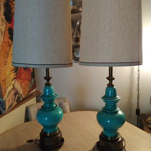 1950s Stiffel Lamp Turquoise Crackle Glaze Ceramic and Brass for Sale in St. Petersburg, FL