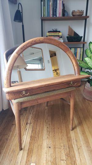 Oak half moon mirror w/shelf & hooks for Sale in Seattle, WA
