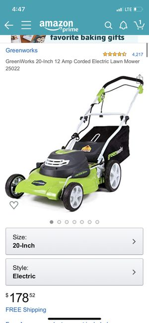GreenWorks 20-Inch 12 Amp Corded Electric Lawn Mower 25022 for Sale in Norwalk, CA