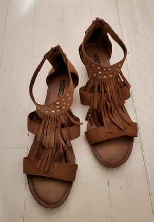 Brown leather fringe tassel wedge sandals 11 for Sale in Escondido, CA