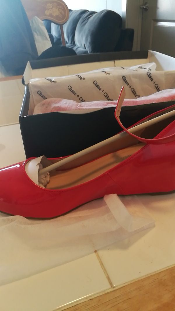 Red patent leather wedge