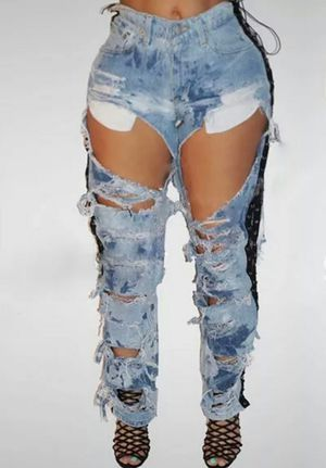 Ripped lace up denim jeans size L for Sale in Las Vegas, NV