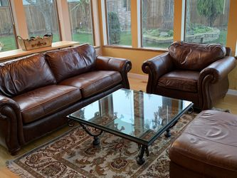 Leather Couch, Chair, Ottoman & Glass Metal Coffee Table for Sale in Tacoma,  WA