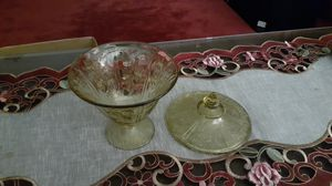 Vintage depression glass candy dish with lid. Sharon cabbage Rose's design. for Sale in Kingsley, PA