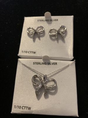 Diamond and sterling silver necklace and earrings for Sale in Carrollton, VA