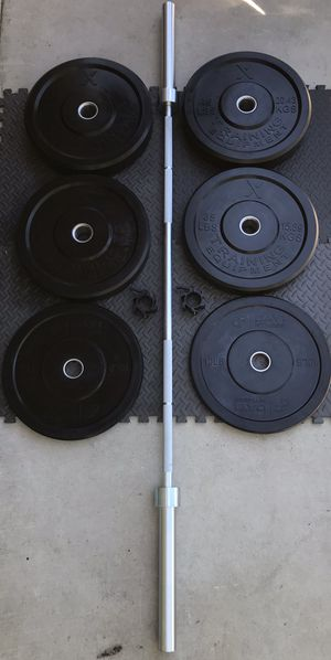 OLYMPIC BUMPER PLATES BAR BARBELL RUBBER CROSSFIT WEIGHTS SQUAT DEADLIFT POWERLIFTING NEW!! for Sale in Hawaiian Gardens, CA