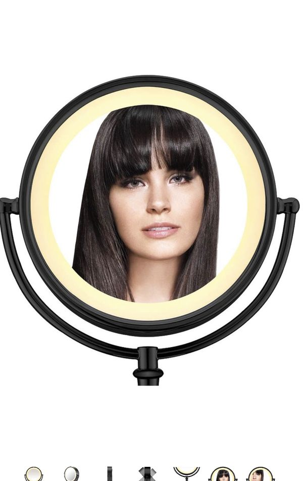 Conair 3-Way Touch Control Double-Sided Lighted Makeup Mirror - Lighted Vanity Makeup Mirror; 1x/7x magnification; Matte Black Finish