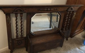 Antique Hat Rack with Beveled Mirror for Sale in Vienna, VA