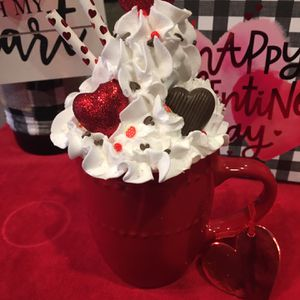 Valentines Faux Whipped Cream Topper And Red Mug for Sale in Graham, WA
