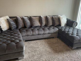Grey Velvet Couch for Sale in Houston,  TX