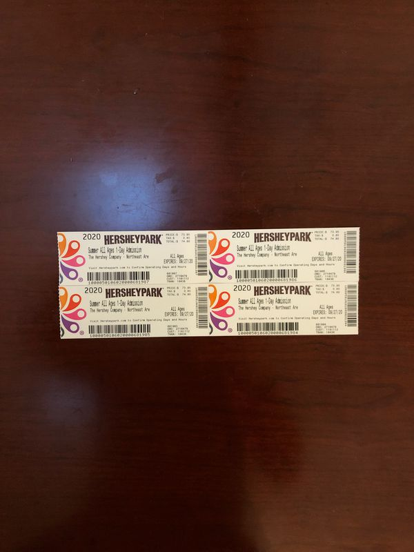 4 Hershey Park Admission Tickets