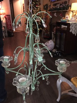 Metal and glass CANDLE chandelier (missing some crystals) 18 inch all for Sale in Orange, CA