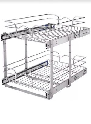 Pull Out Cabinet Basket 2-Tier Kitchen Organizer Heavy Duty Chrome Metal 19 In for Sale in Tacoma, WA