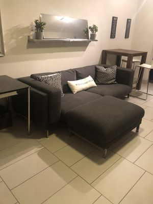 IKEA sofa with pillows and ottoman for Sale in Miami Beach, FL
