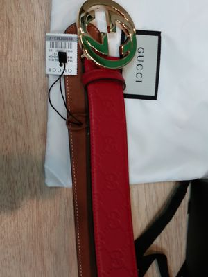 Gucci red leather embossed belt for Sale in Paterson, NJ