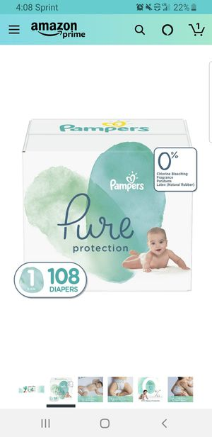 Diapers Newborn/Size 1 (8-14 lb), 108 Count - Pampers Pure Protection Disposable Baby Diapers, Hypoallergenic and Unscented Protection, Giant Pack for Sale in Clovis, CA