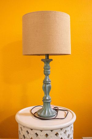 Table Lamp Rustic Teal / Green / Beige / Tan Color Wood for Sale in Los Angeles, CA