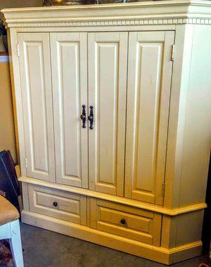 Gorgeous Large Antique Armoire/Entertainment Cabinet, Buttercream Color for Sale in Loganville, GA