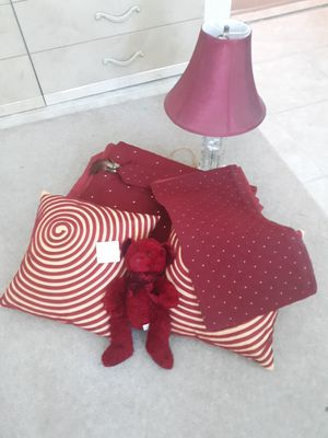 Bedspread, queen size, 2 shams, 2 coordinating throw pillows, lamp with matching red shade, matching wall decoration for Sale in St. Petersburg, FL