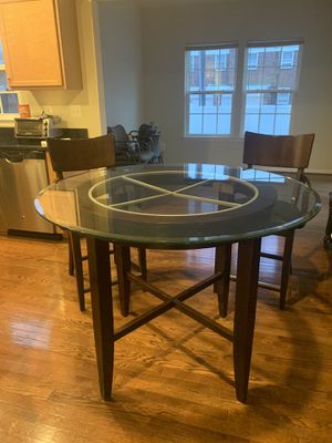 Glass and Dark Wood Table & Chairs for Sale in Nottingham, MD