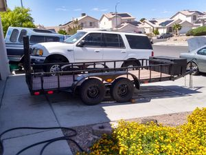 Utility trailer 18 ft x 4'10 total length ,cargo length is 13ft ramp gate 18in fence around,tool box working lights for Sale in Henderson, NV