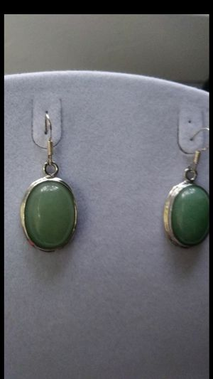 "Classic design dangle green jade jadeist dangke silver 925 earings 1""1/4 for Sale in Richmond, CA"