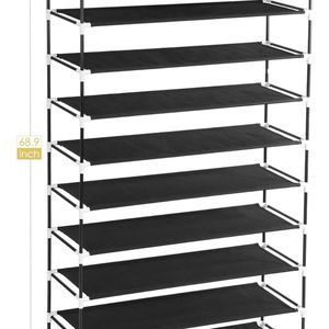 10 Tiers Free Standing Shoe Rack for 50 Pairs of Shoes Organizer in Closet Entryway Hallway, Metal Frame and Fabric Shelves, 39.4 x 11.4 x 68 for Sale in Hollywood, FL