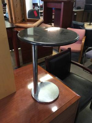 END TABLE in BLACK GRANITE w/ CHROME BASE - $139 (Cleveland-Delivery) for Sale in Cleveland, OH