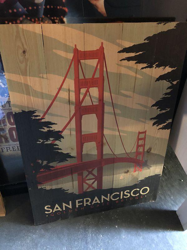 San Francisco Golden Gate Bridge wooden wall art
