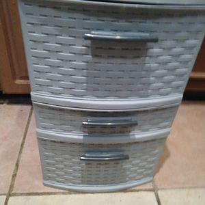Grey plastic 3 drawer storage $10 20 inches tall x 18 x 13 for Sale in Missouri City, TX