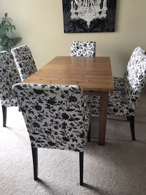 IKEA Dining Room Set with 6 IKEA Henriksdal Dining Chairs for Sale in Alexandria, VA