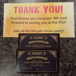 Shenandoah tickets for Oct 11. Greenville Ritz theatre for Sale in Sylacauga, AL