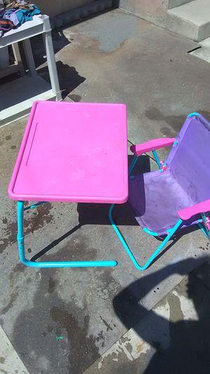 Folding plastic kids chair n desk for Sale in Bakersfield, CA