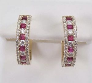 14k Gold 5 Ct Princess Cut Ruby & Diamond Studded Hoop Earrings for Sale in West Covina, CA