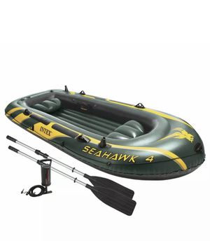 Intex Seahawk 4-Person Inflatable Boat Aluminum Oars and High Output Air Pump for Sale in Brooklyn, NY