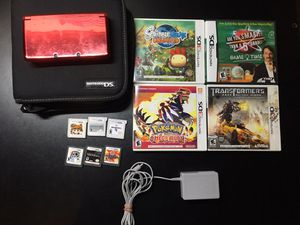 Red 3ds with 10 games Charger And Case for Sale in Wilmington, MA