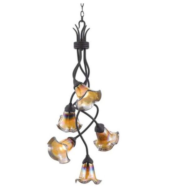 Hand Blown Glass and Metal Chandelier - Hanging Light