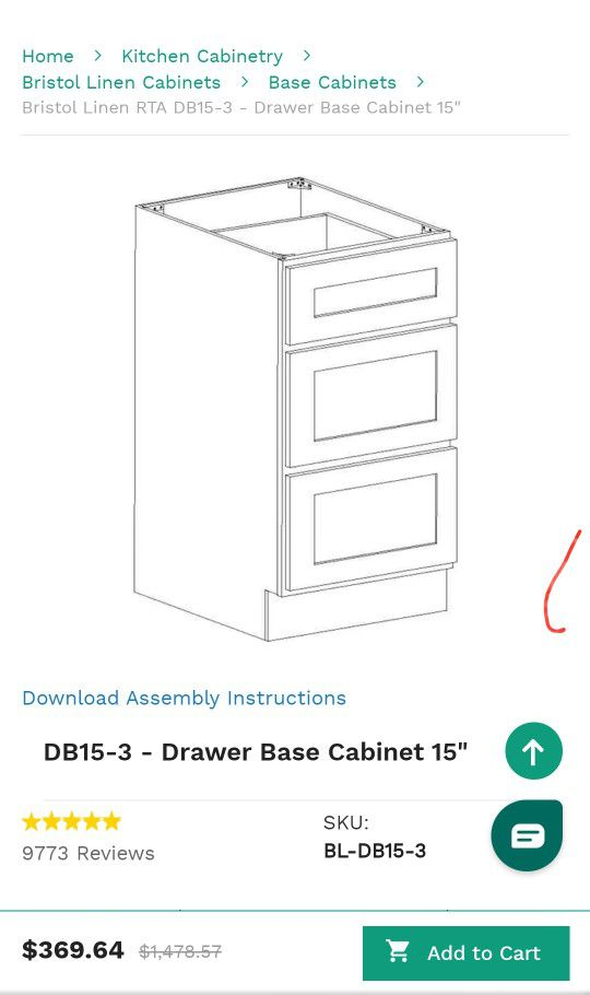 Kitchen cabinets - Base 15 Three Drawer LINEN COLOR